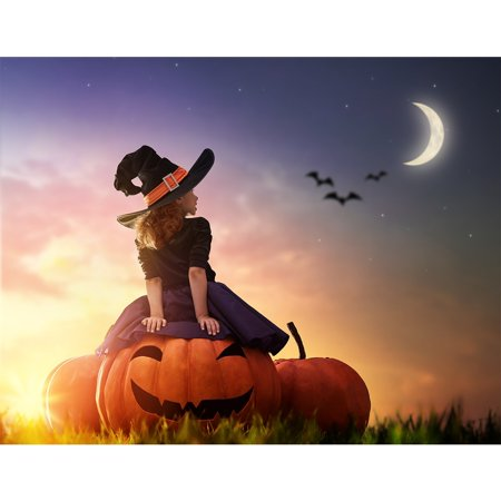 HelloDecor Polyster 7x5ft photography backdrop background Happy Halloween moon night carnival big pumpkin witch witchcraft Childhood kids girl props photo studio booth