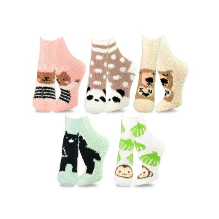TeeHee Fashionable Cozy Fuzzy Slipper Crew Socks for Women 5-Pack