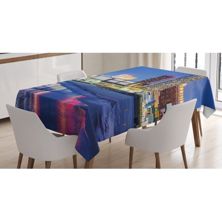City Tablecloth, Resort Casinos on Shore at Night Atlantic City New Jersey United States, Rectangular Table Cover for Dining Room Kitchen, 60 X 84 Inches, Violet Blue Pink Yellow, by Ambesonne for $<!---->