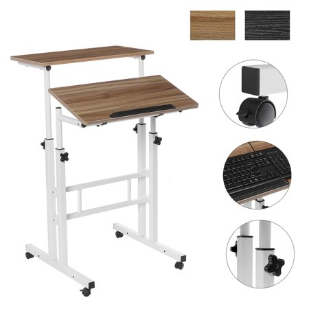 2-IN-1 Mobile Standing Desk 2-Tier Computer Table Laptop Stand Up Desk, Height & Angle Adjustable For Home Office Sit Stand Workstation