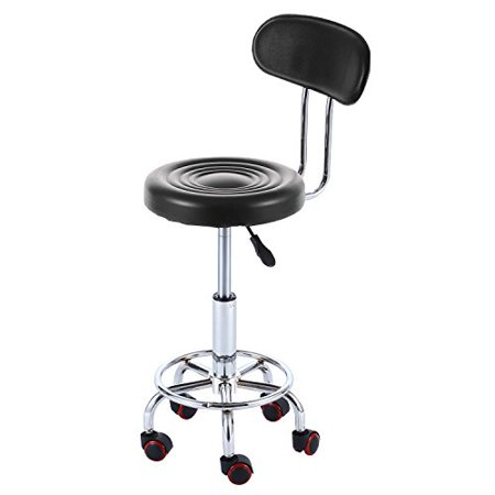 Rfiver Well Medical Spa Ergonomic Drafting Stool Chair With Wheels And Back Cushion In Black  Sc1001b