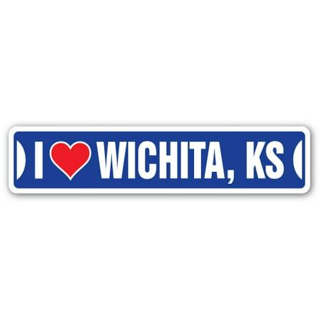I LOVE WICHITA, KANSAS Street Sign ks city state us wall road décor gift - Halloween Kansas City