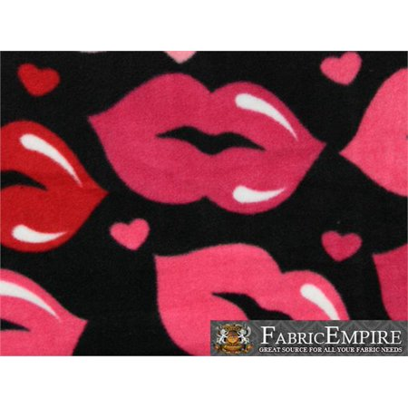 Fleece Fabric Printed ANTI PILL LARGE RED PINK LIPS BLACK BACKGROUND