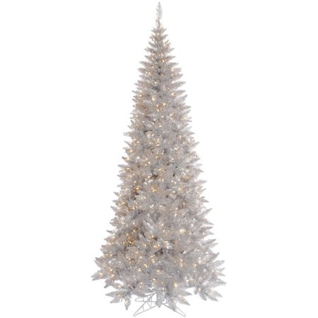 Vickerman 9 Silver Tinsel Fir Artificial Christmas Tree With 700 Clear Lights