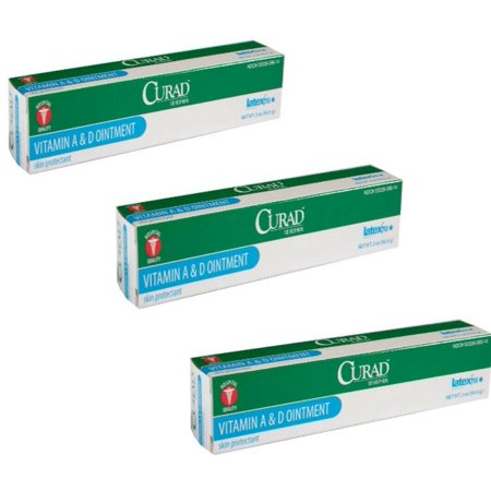SALE!!! Medline Curad A&D Ointment 2 Oz - Pack of 3 CURAD A&D ointment is a petrolatum and lanolin-based ointment that has vitamin A & D in it to help soothe, protect and moisturize the skin.Active: white petrolatum 93.5%.Inactive: corn oil, light mineral oil, vitamin A, palmitate, and vitamin D.