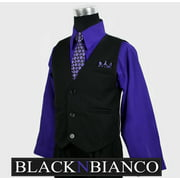 Boys Vest Suits Pinstripe Black with Purple Shirt