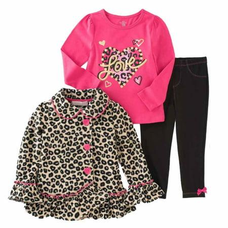 eb1d226b59302 Kids Headquarters Infant Girl 3 PC Love Shirt Leopard Print Jacket Leggings  - Walmart.com