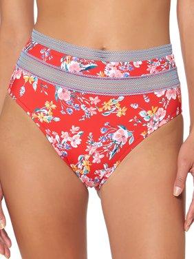 Jessica Simpson Womens Swimsuit High waist bottom with crochet panel inset