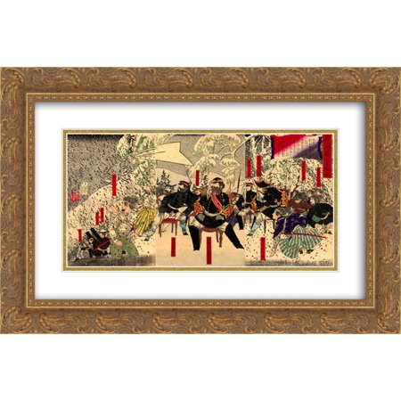 Tsukioka Yoshitoshi 2x Matted 24x16 Gold Ornate Framed Art Print 'Japanese war in