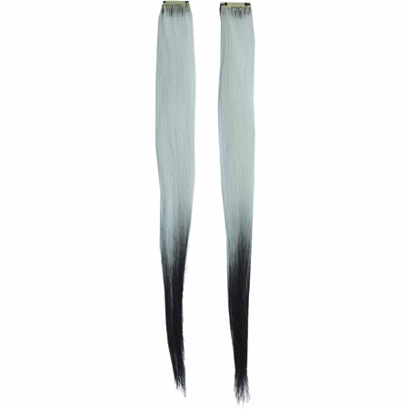 White/Black Fade Hair Extension Adult Halloween - Sa Halloween