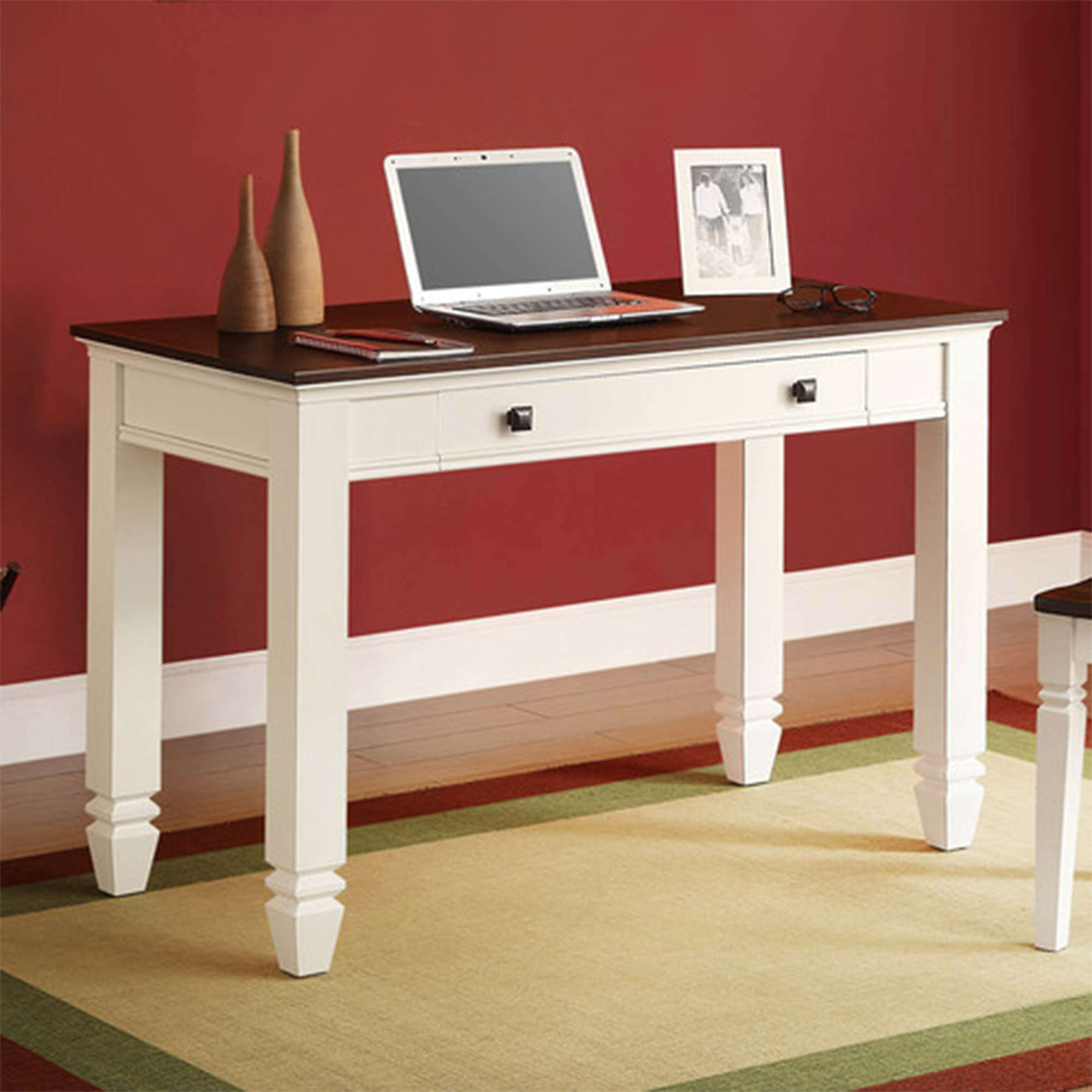 Whalen White and Cherry Wood Writing Desk, Classic Cottage Design