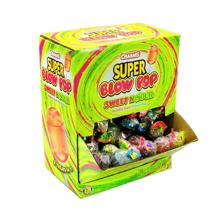 Sour Bubble Gum - Charms Super Blow Pop Sweet N Sour Bubble Gum Filled Pop 100 ct