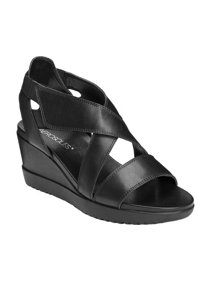 16b1d4deceef Women s Aerosoles Bloom Strappy Wedge. Black Leather