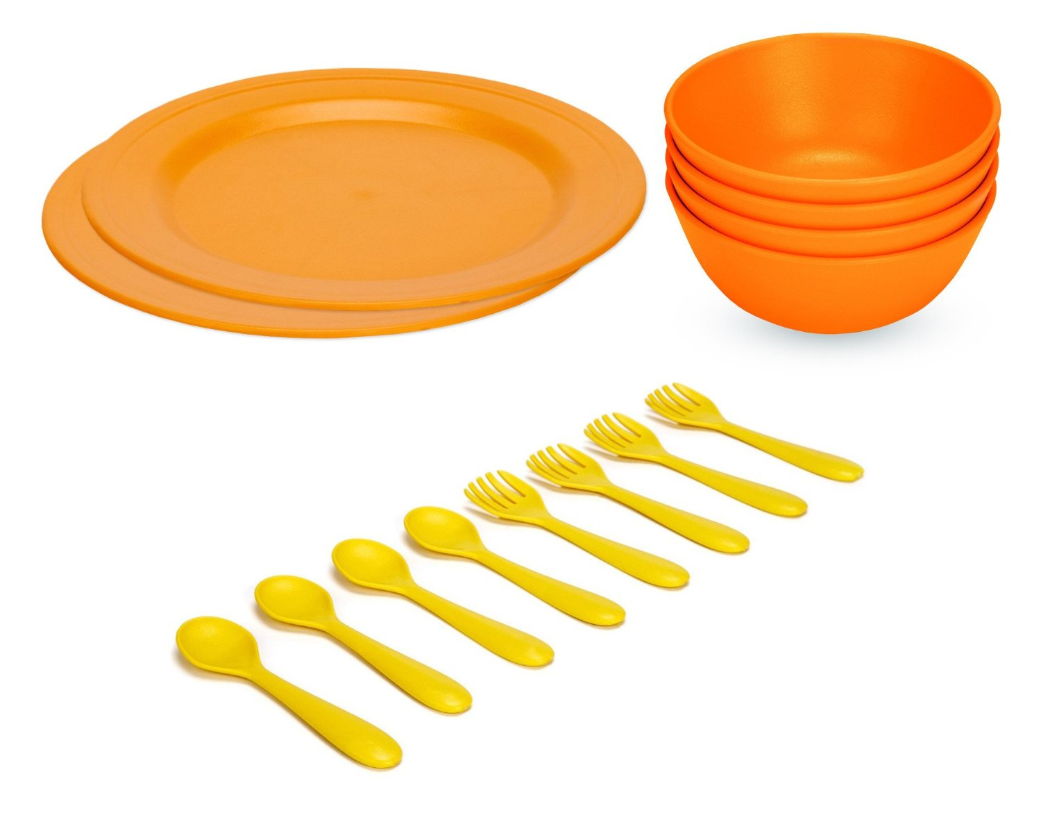 Green Eats Large Plates with Snack Bowls & Feeding Spoons & Forks, Orange by Green Eats