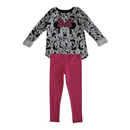 Disney Little Girls White Black Pink Minnie Mouse Print 2 Pc Pant Set
