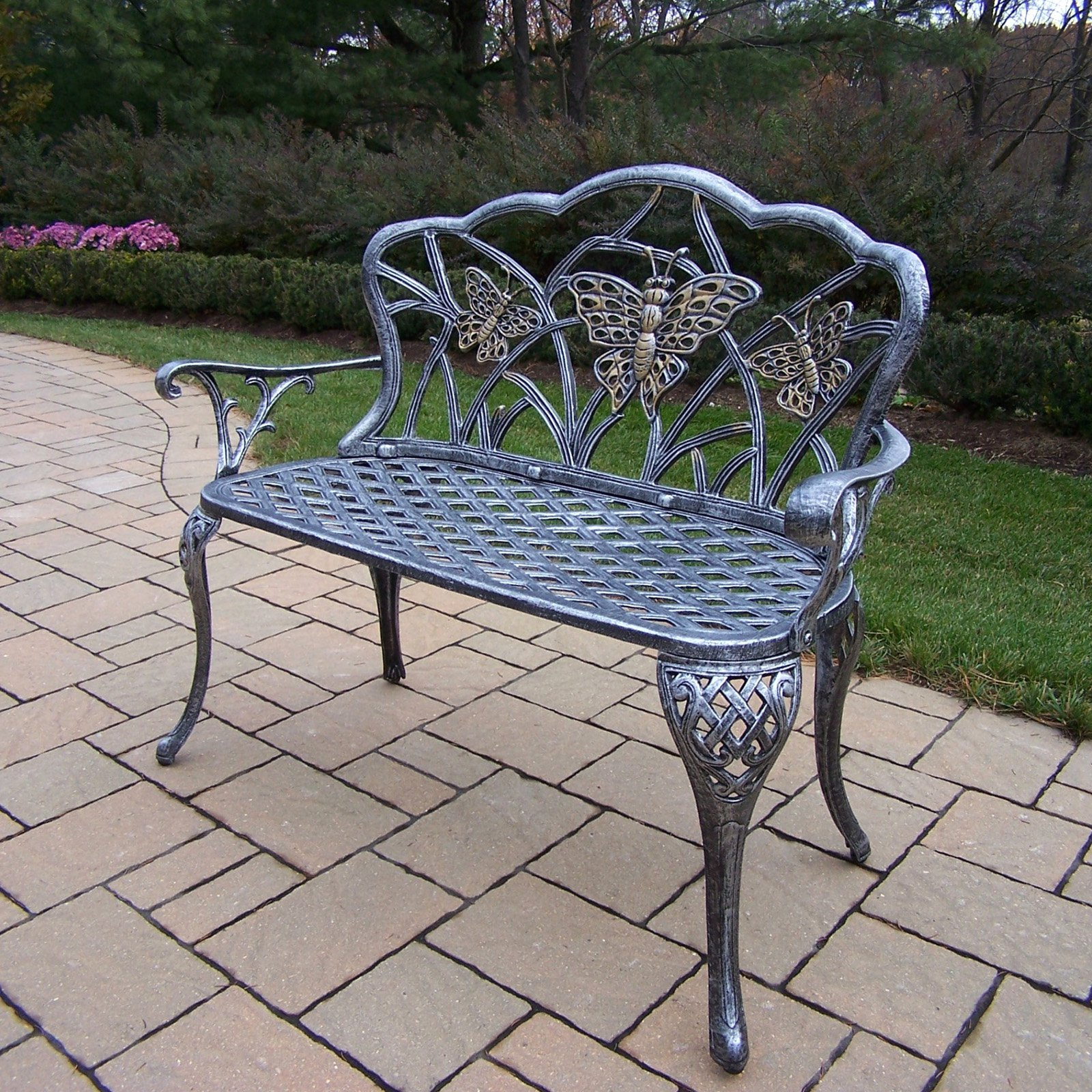 Oakland Living Butterfly Cast Aluminum Curved Loveseat Bench in Antique Pewter Finish