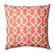 Pillow Perfect  Lattice Damask Tangerine 24.5-inch Decorative Pillow