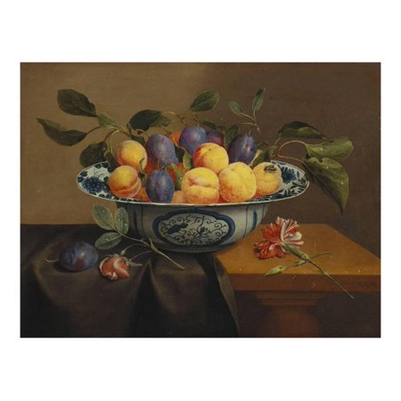 Plums and Apricots in a Wanli Kraak Porselein Bowl with a Carnation, a Rose Print Wall Art By Jacob Van (Bowl Apricot)