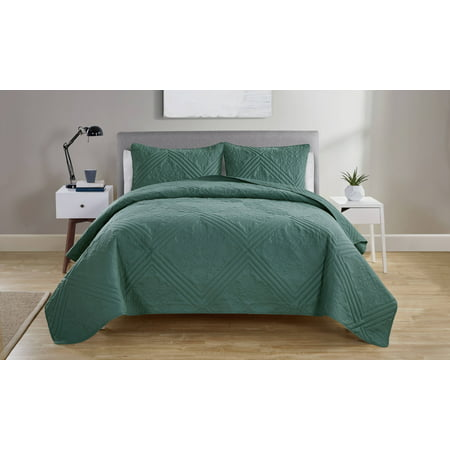 VCNY Home Chateau Textured Medallion Quilt Set, Full/Queen, Aqua ()