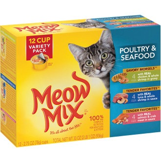 Big Heart Pet Brands Meow Mix Market Select Seafood Wet Cat Food Variety Pack, 12 ct