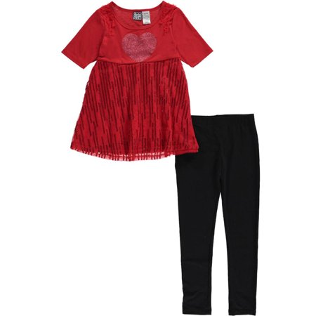 Pogo Club Big Girls  Heart Of Glitter  2 Piece Outfit  Sizes 7   16