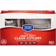 Berkley Jensen Super Premium Heavyweight Plastic Cutlery, 360 ct. - Clear