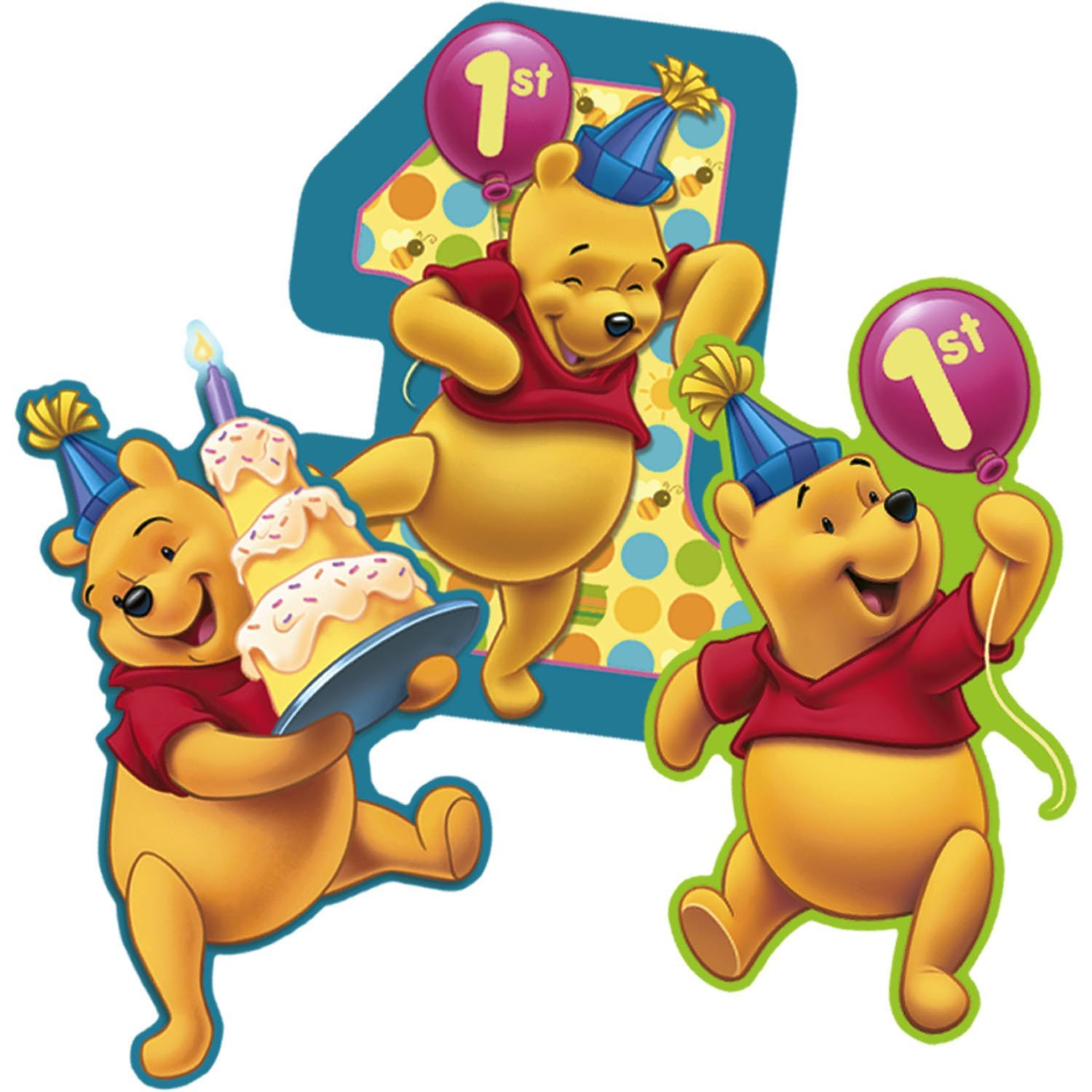 Winnie The Pooh 1st Birthday Wall Decorations 3ct