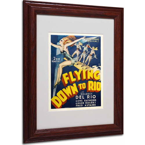"Trademark Fine Art ""Flying Down to Rio"" Matted Framed Art by Vintage Apple Collection, Wood Frame"