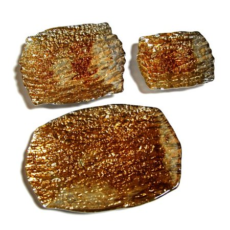 Red Pomegranate Romos Amber Silver Dish