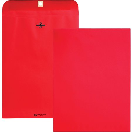 Quality Park, QUA38734, Brightly Colored 9x12 Clasp Envelopes, 10 / Pack, Red - Red Envelopes