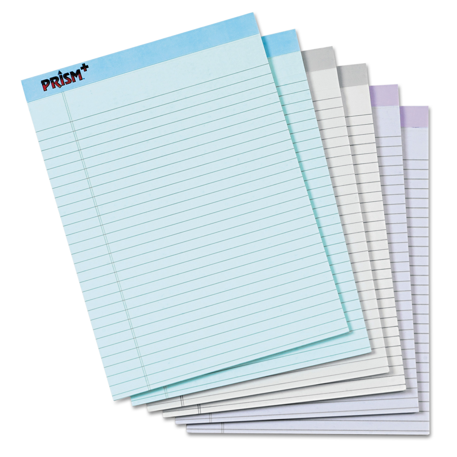 TOPS Prism Plus Colored Legal Pads, 8 1/2 x 11 3/4, Pastels, 50 Sheets, 6 Pads/Pack -TOP63116