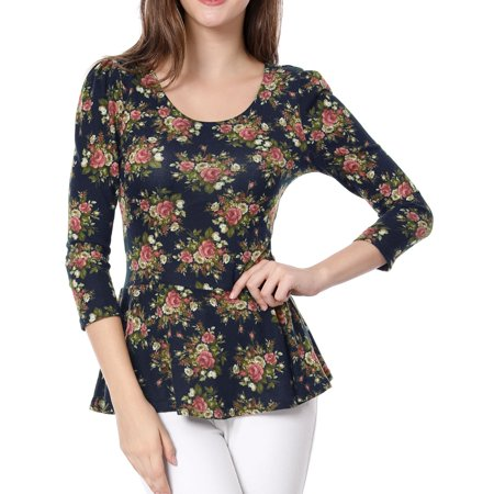 Women's Scoop Collar Top Puff Sleeve Floral Stretch Shirt Blouse
