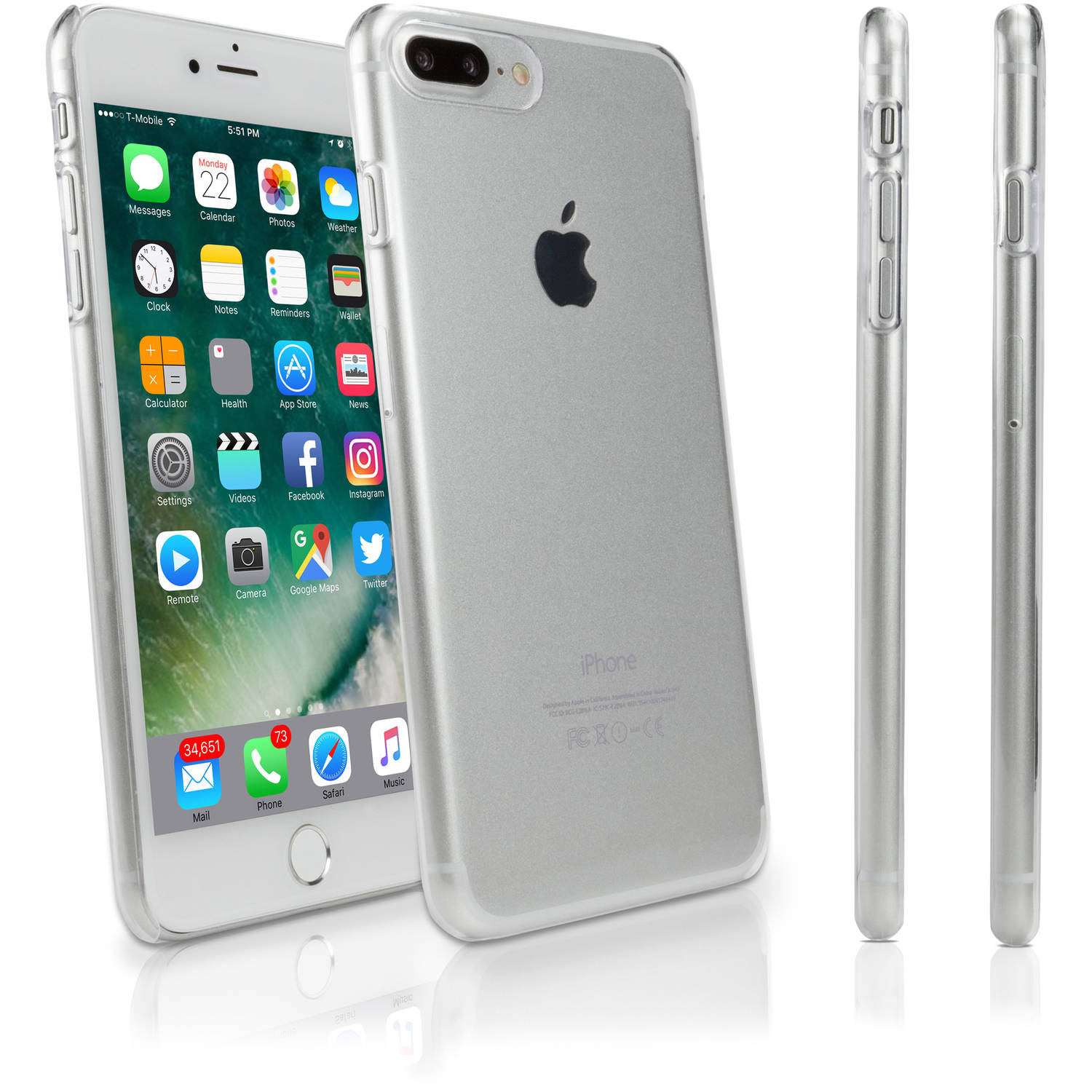 BoxWave Crystal Shell Slim-Fit, Ultra Lightweight, Hard Shell Cover for Apple iPhone 7 Plus, Clear