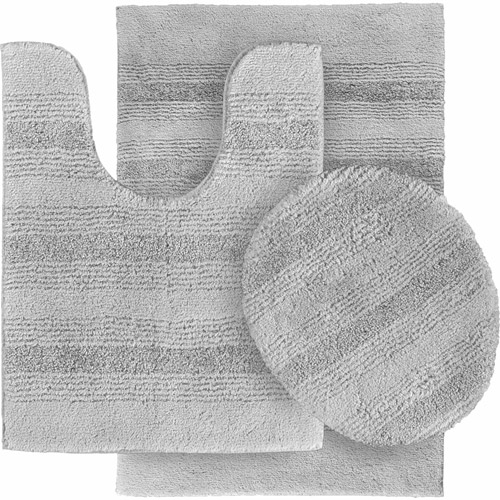 Essence Nylon 3-Piece Washable Bathroom Rug Set