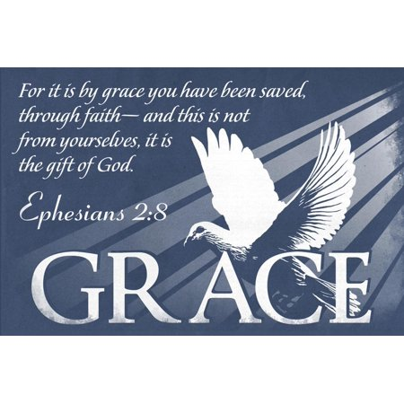 Ephesians 2:8 - Inspirational Grace Bible Verse Christian Religion Print Wall Art By Lantern Press