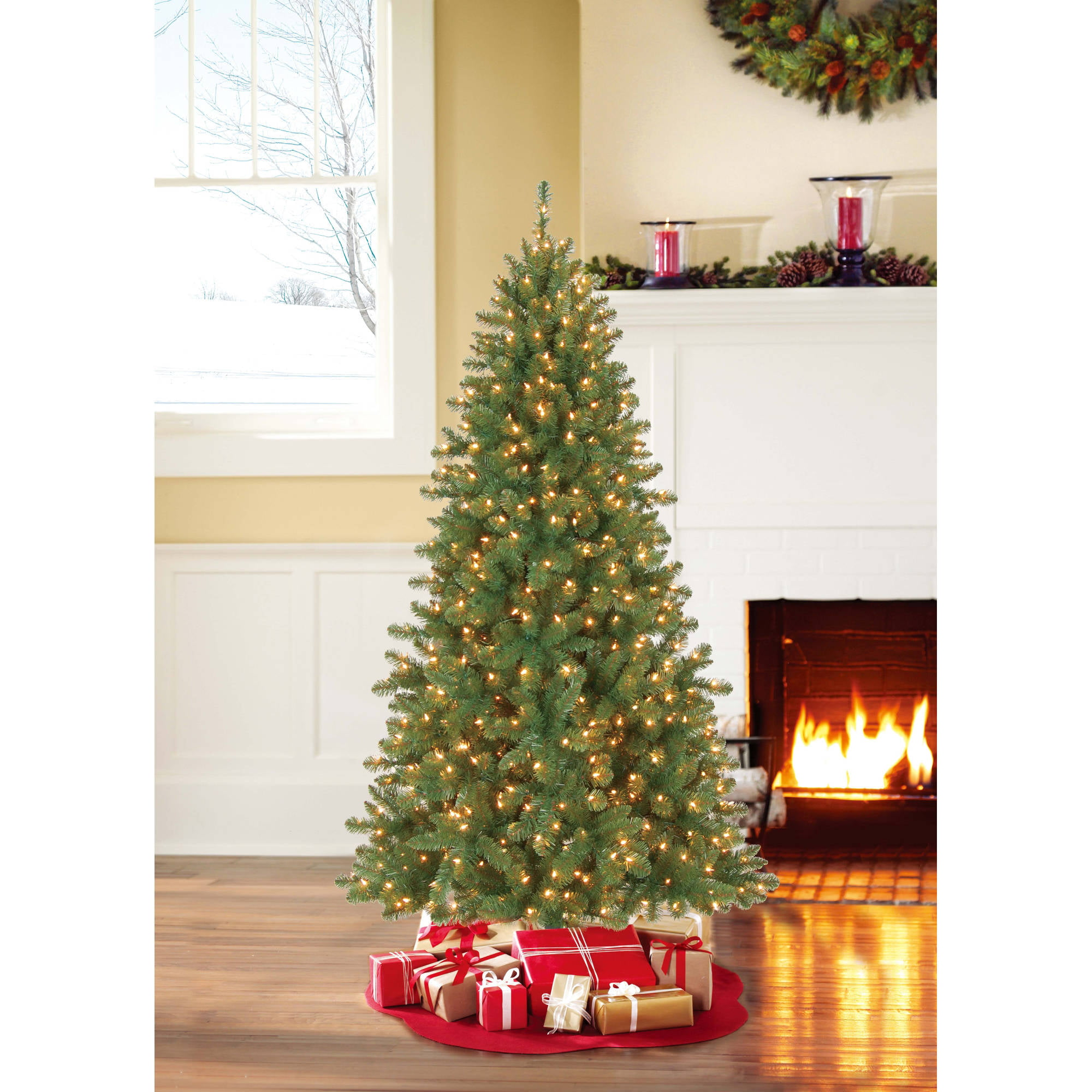 best choice products 75ft pre lit spruce hinged artificial christmas tree w 550 led lights foldable stand green walmartcom - Pre Decorated Christmas Trees