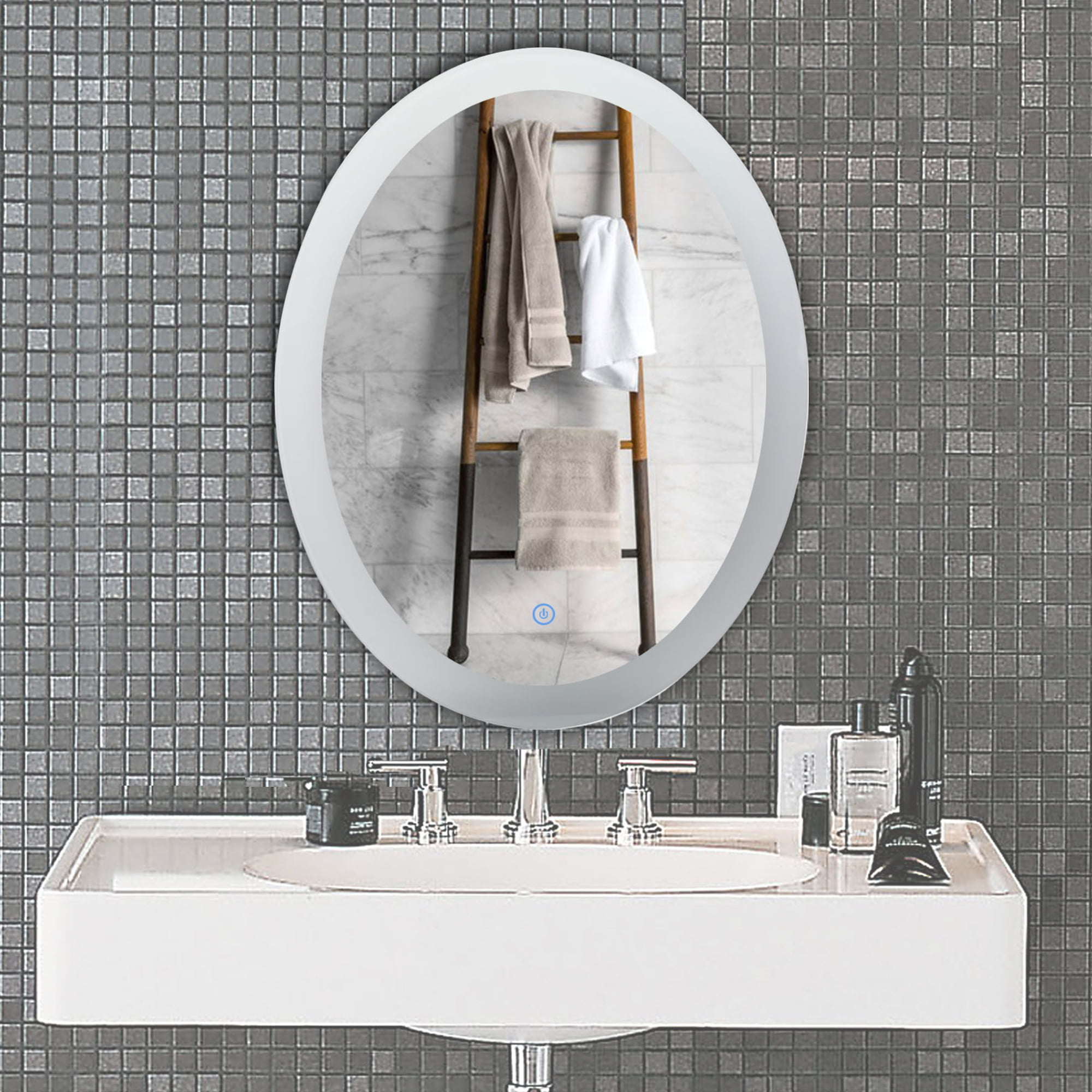Oval Led Lighted Bathroom Mirror Plug In Wall Mounted Modern Touch Dimmable Wall Mirror With Dimmer And Lights Fogless Led Backlit Lighted Makeup Vanity Mirror Over Cosmetic Bathroom Sink Walmart Com