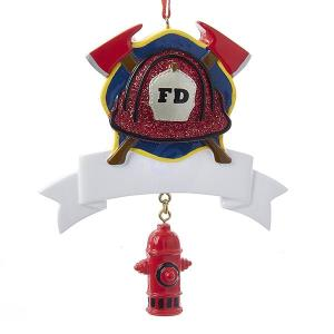 4 Inch Fireman Banner for Personalization Resin with Hydrant Dangle Ornament
