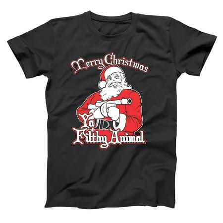 Santa Ya Filthy Animal Merry Christmas Small Black Basic Men's