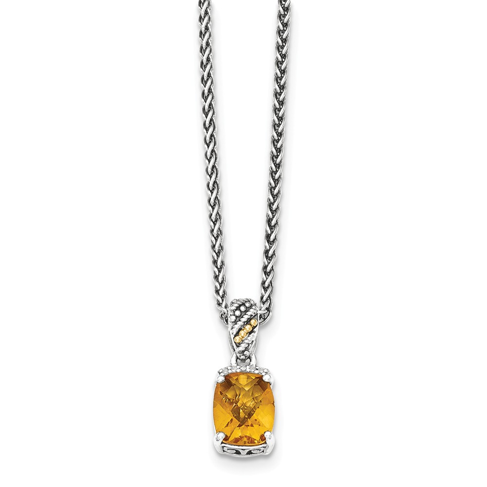 """14K Gold and 925 Sterling Silver Two-Tone (0.025cttw) with Diamond and Citrine Necklace -18"""" by"""
