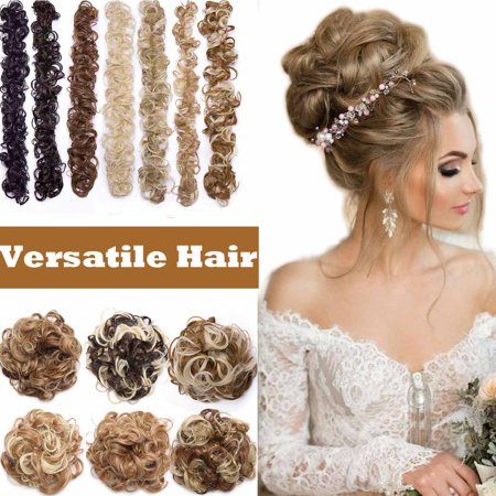 S-noilite Magic Hair Band Long Wrap Around Scrunchie Messy Hair Bun Maker Updo Chignon DIY Ponytails Hair Extensions Synthetic Curly Hairpieces Dark (Diy Hair Updos For Medium Length Hair)
