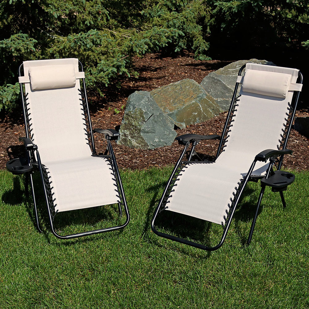 Sunnydaze Red Outdoor Zero Gravity Lounge Chair with Pillow and Cup Holder, Set of Two