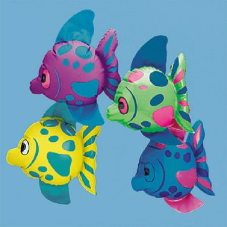 Lot of 12 Mini Inflatable Tropical Fish Summer Beach Luau Party - Luau Inflatables