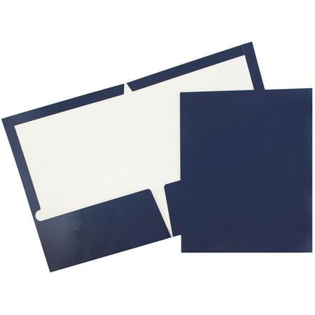 JAM PAPER Laminated Two Pocket Glossy Folders, Navy Blue, Bulk 25/pack](2 Pocket Folders Bulk)