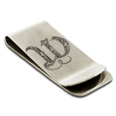 Laser Engraved Money Clip - Stainless Steel Letter W Initial Royal Monogram Engraved Engraved Money Clip Credit Card Holder