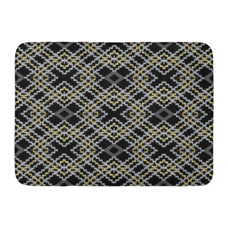 Embroidered Mat Standard - GODPOK Striped Embroidery Check Geometric Abstract Modern Ornaments with Embroidered Shapes Squares Zigzag Rug Doormat Bath Mat 23.6x15.7 inch