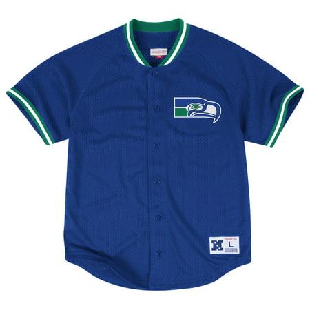 9791473e7 Seattle Seahawks Mitchell   Ness NFL Seasoned Pro Men s Button Up Jersey  Shirt