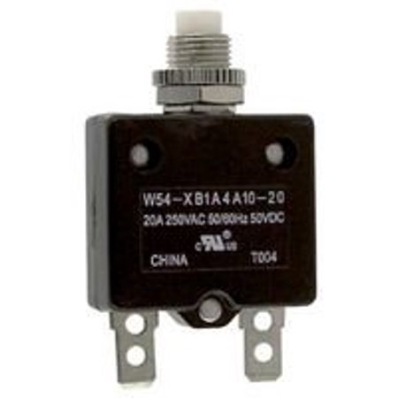 TE CONNECTIVITY / POTTER & BRUMFIELD W54-XB1A4A10-20 CIRCUIT BREAKER, THERMAL, 1P, 250V, 20A (50 pieces)