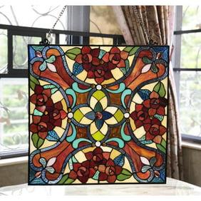 Chloe Crimson Topaz Tiffany Style Animal Stained Glass Window Panel 20 Height Walmart Com Walmart Com