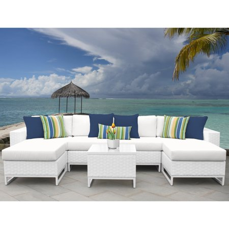 TK Classics Miami Wicker 7 Piece Patio Conversation Set with Ottomans ()